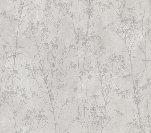 Cordelia Light Grey Floral Silhouettes Wallpaper Wallpaper