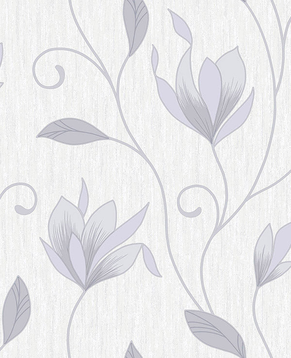 Mercutio Grey Floral Trail Wallpaper Wallpaper