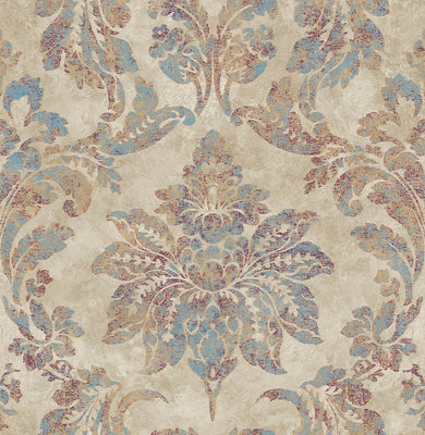 Astor Burgundy Damask Wallpaper Wallpaper