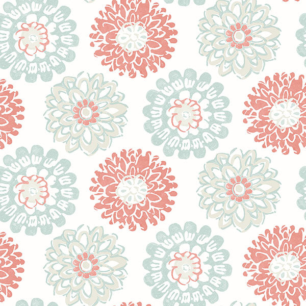 Sunkissed Coral Floral Wallpaper Wallpaper