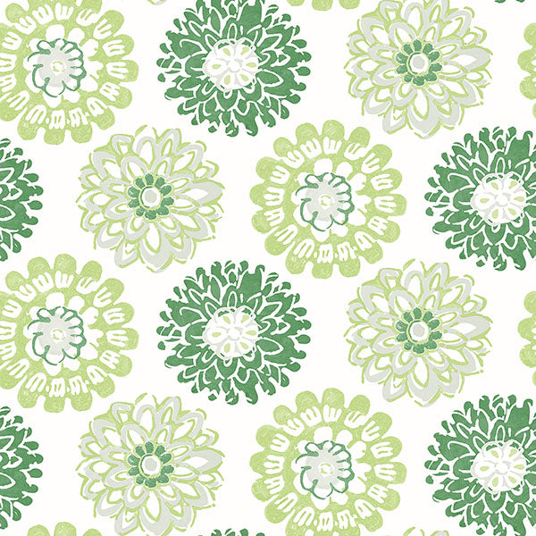 Sunkissed Green Floral Wallpaper Wallpaper