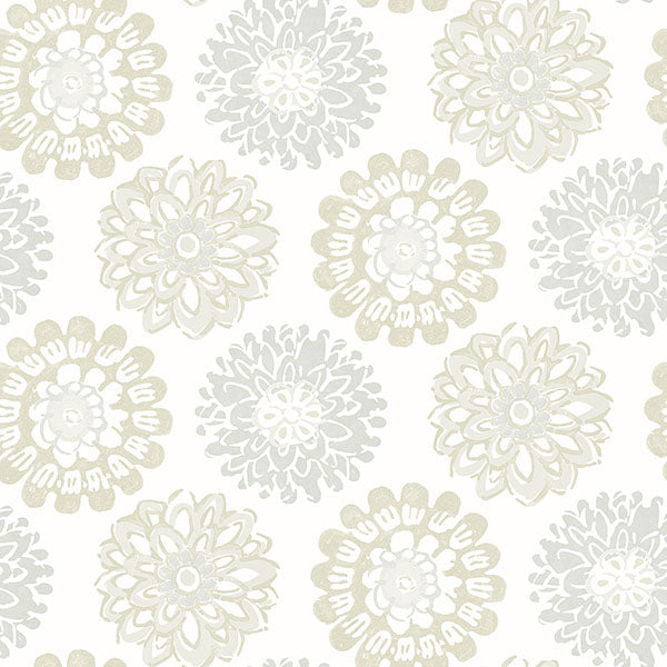 Sunkissed Light Grey Floral Wallpaper Wallpaper