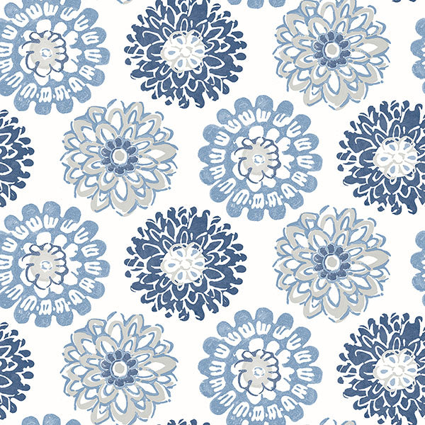 Sunkissed Blue Floral Wallpaper Wallpaper