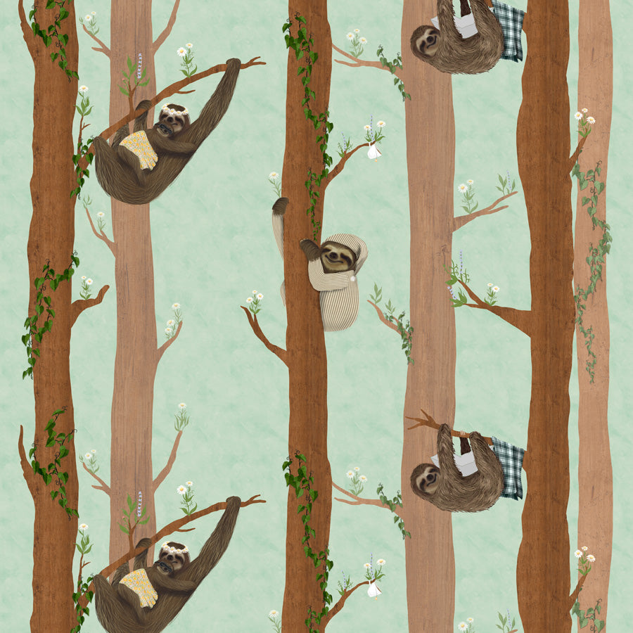 Sleepy Sleepy Sloths - Spearmint Wallpaper