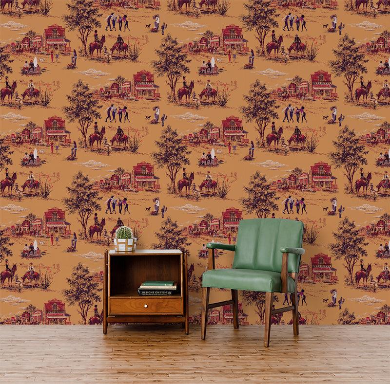 Punk Rock Toile - Bourbon Wallpaper