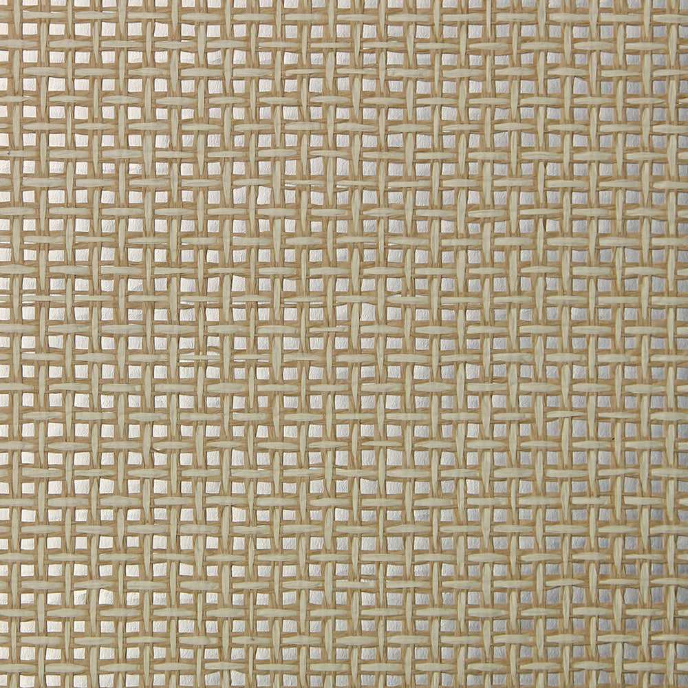 Sand and Silver Grasscloth Wallpaper