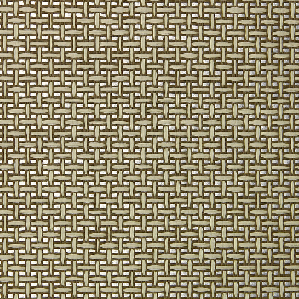 Umber and Silver Grasscloth Wallpaper
