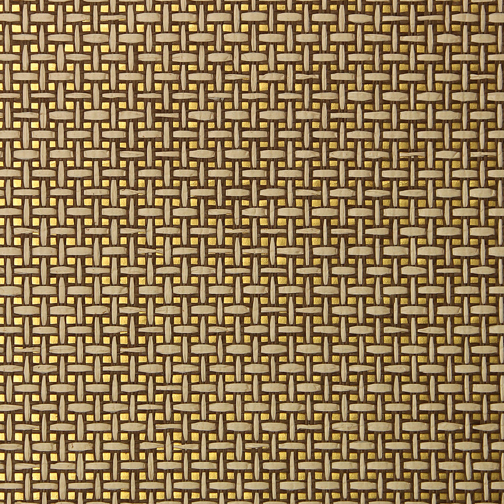 Umber and Gold Grasscloth Wallpaper