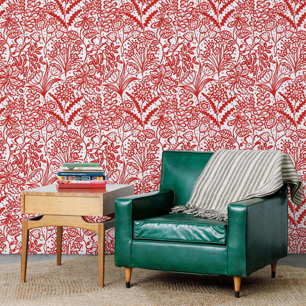 Floral Fandango - Red Wallpaper
