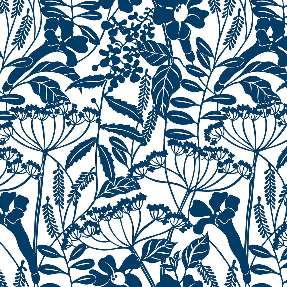 Wild Hedgerow - Indigo Wallpaper