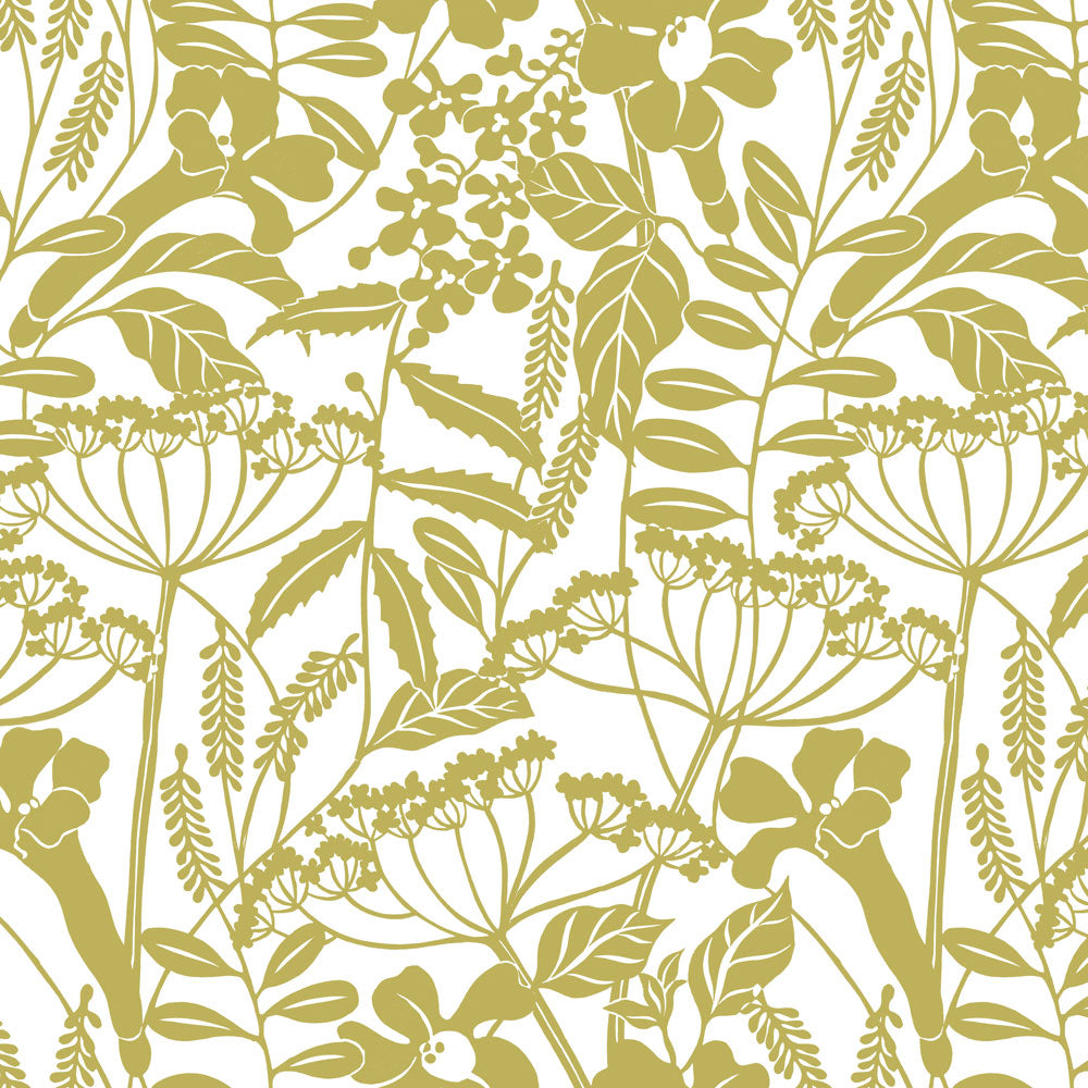 Wild Hedgerow - Olive Wallpaper