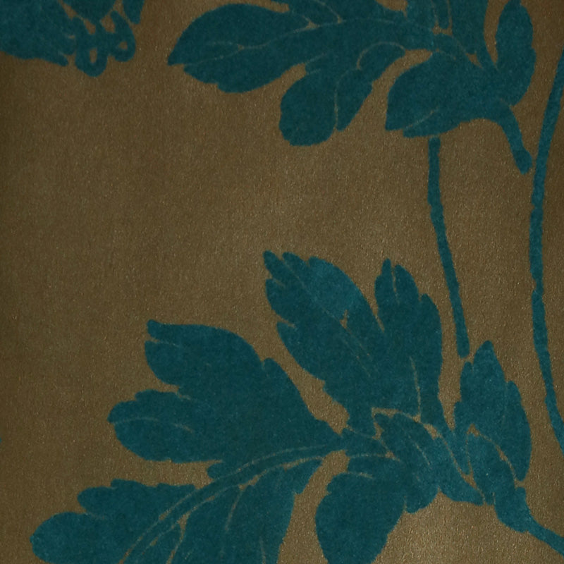 Poppycock - Gold Leaf and Teal Velvet Wallpaper