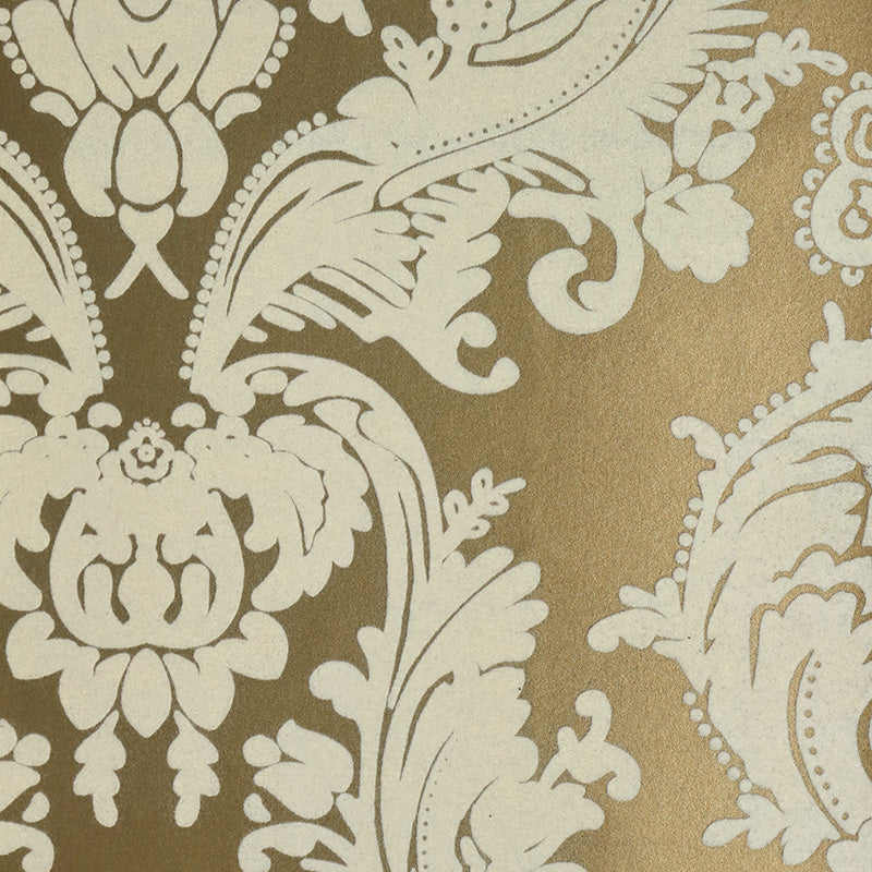 Gold Leaf and White Velvet Wallpaper