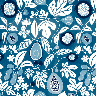 Folk Fruit - Indigo Wallpaper