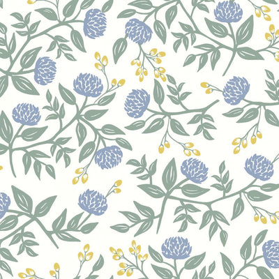 Peonies Wallpaper - Periwinkle/Sage Wallpaper