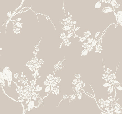 Imperial Blossoms Branch Wallpaper - Taupe Wallpaper