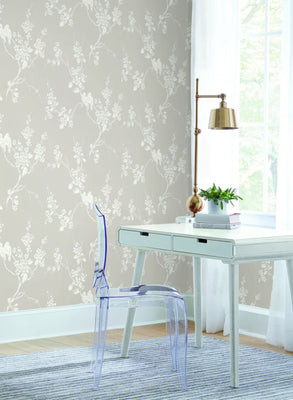 Imperial Blossoms Branch Wallpaper - Taupe