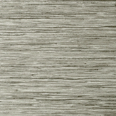 Jindo Grass - Charcoal on Metallic Silver Wallpaper