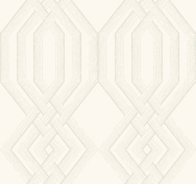 Ettched Lattice Wallpaper - Taupe Wallpaper