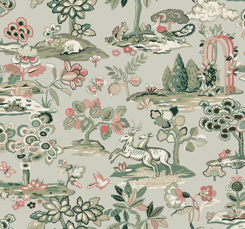 Kingswood Wallpaper - Taupe/Coral Wallpaper