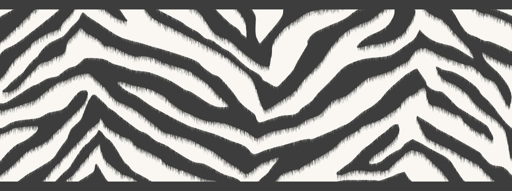 Mia Black Faux Zebra Stripes Border Wallpaper