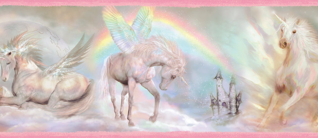 Farewell Pink Unicorn Dreams Portrait Border Wallpaper