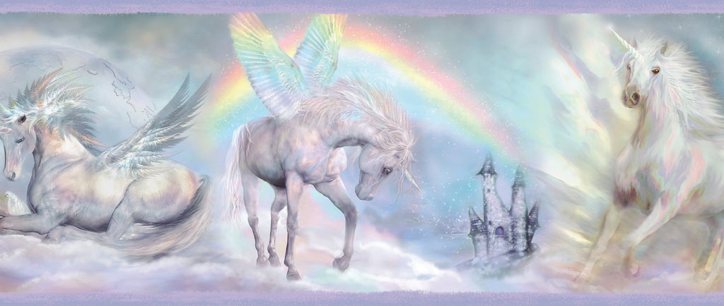 Farewell Blue Unicorn Dreams Portrait Border Wallpaper