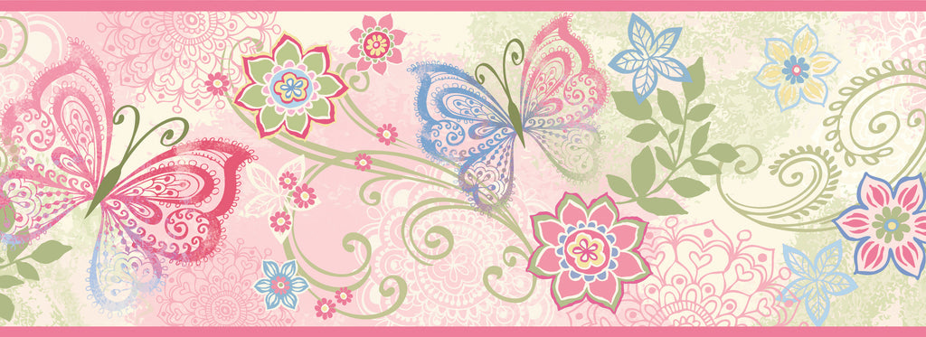 Fantasia Pink Boho Butterflies Scroll Border Wallpaper