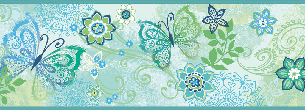 Fantasia Blue Boho Butterflies Scroll Border Wallpaper