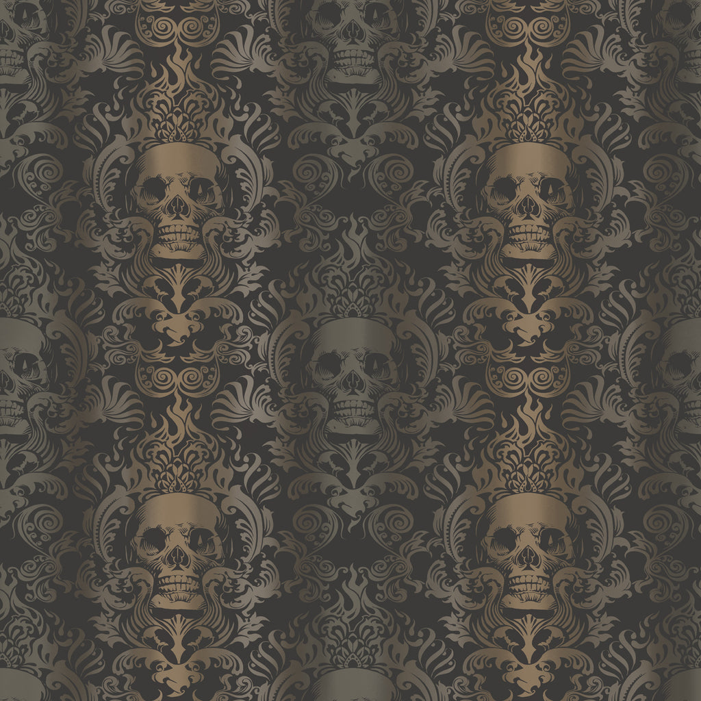 Luther Sand Skull Modern Damask Wallpaper Wallpaper