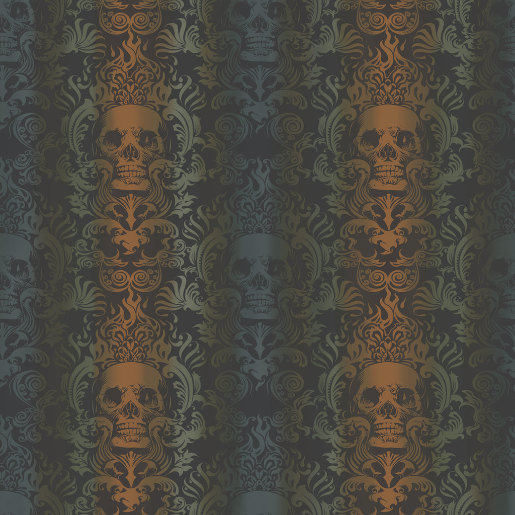 Luther Orange Skull Modern Damask Wallpaper Wallpaper