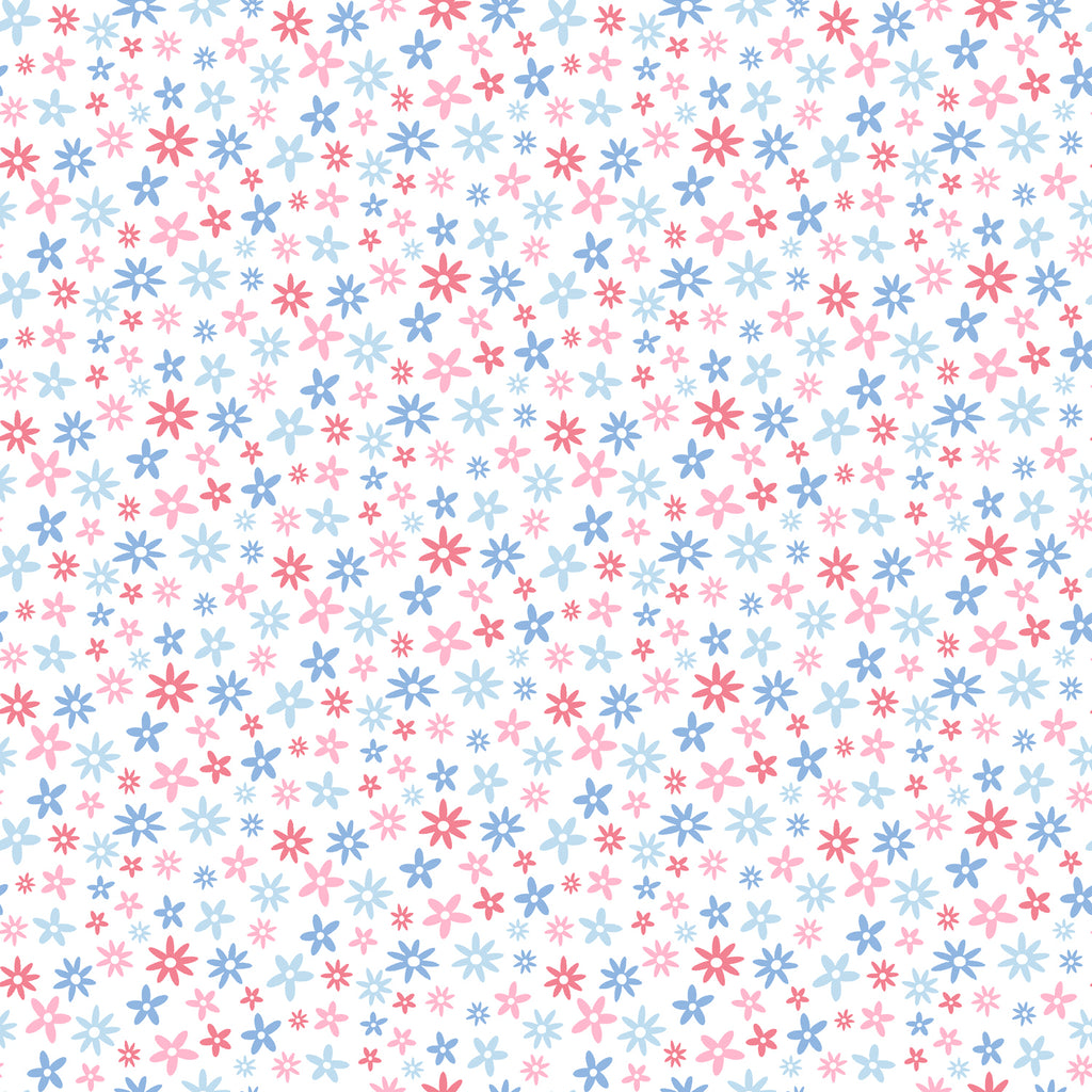 Delilah Blue Mod Flower Toss Wallpaper Wallpaper