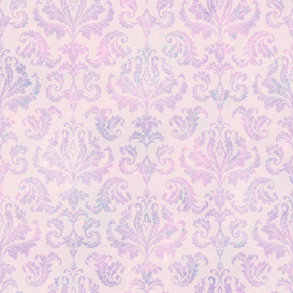 Svetlana Purple Tiedye Modern Damask Wallpaper Wallpaper
