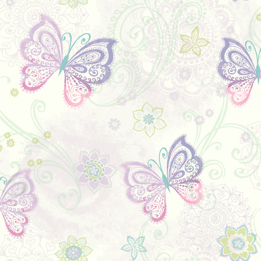 Fantasia Purple Boho Butterflies Scroll Wallpaper Wallpaper