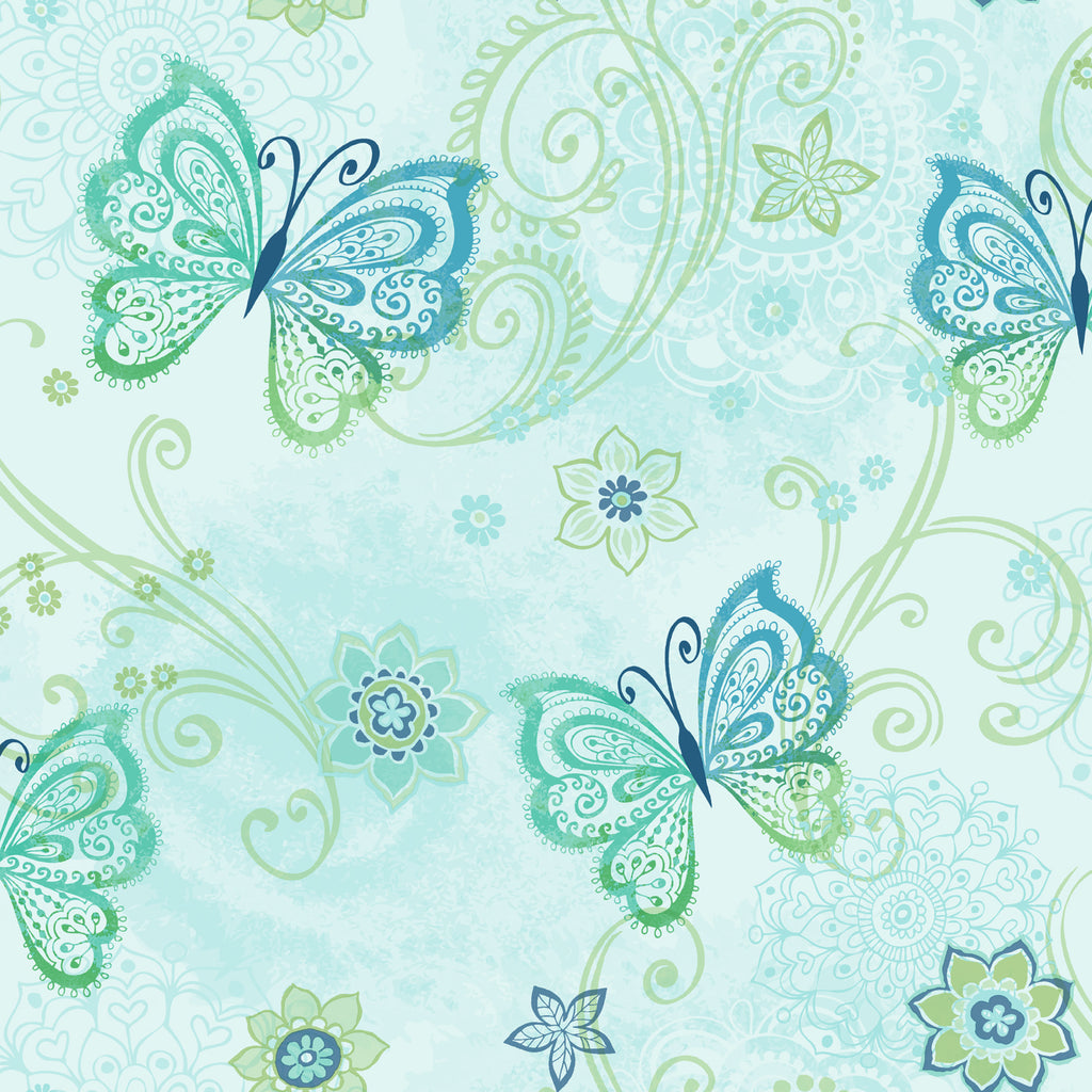 Fantasia Blue Boho Butterflies Scroll Wallpaper Wallpaper