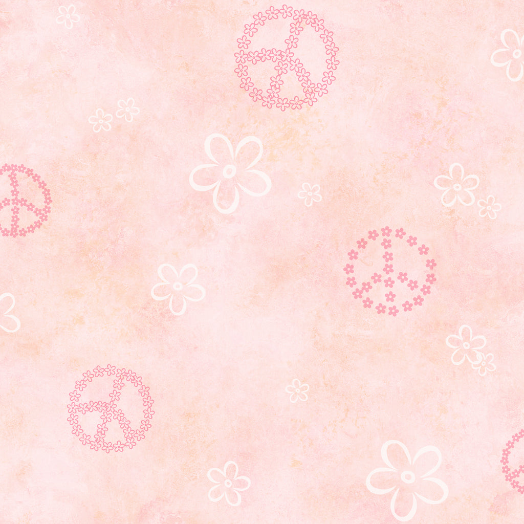 Joplin Pink Peace Flowers Toss Wallpaper Wallpaper