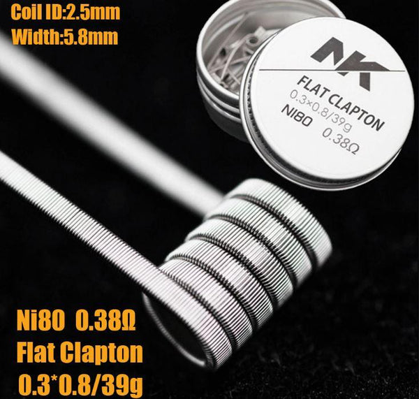 Replacement Coils - NK Pre Made Coil Flat Clapton Coil - Pair