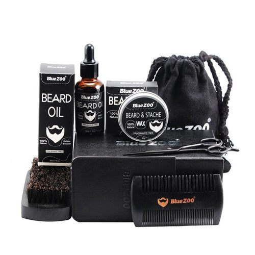 7PCS/Set Men Beard Styling Tool Grooming & Trimming Kit Shaping Moisturizing Wax Oil