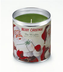 Personalized Merry White Santas Candle