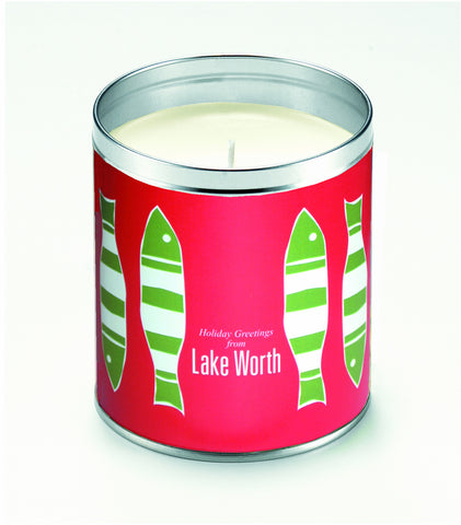 Kate's Picket Fish Holiday Red Background Candle