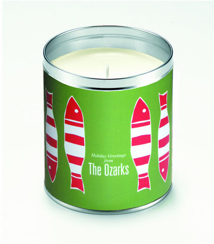 Kate's Picket Fish Green Background Candle