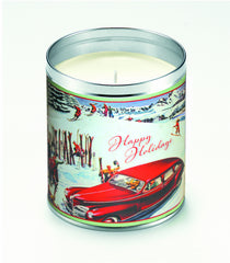 Happy Holiday Skiers Candle