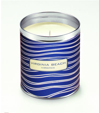 Personalized Navy Blue Ripples Candle