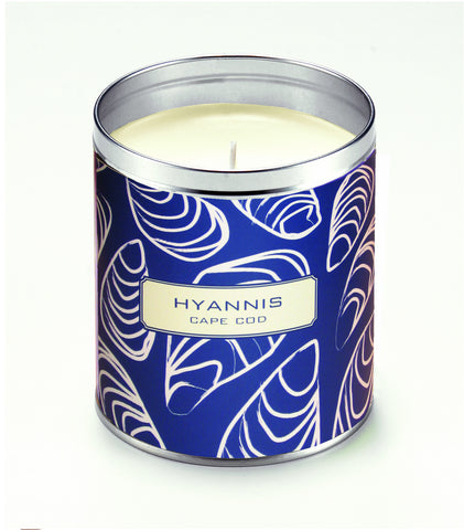 Personalized Navy Blue Oysters Candle