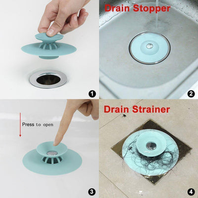 Press Type Anti-Clogging Silicone Sink Strainer - 3pcs
