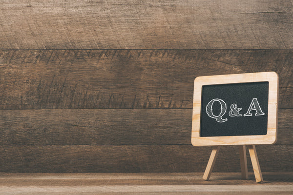 Small easel blackboard with Q&A written on it