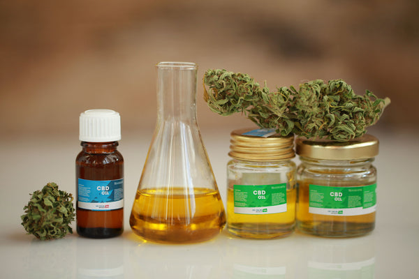Line-up of different CBD oils