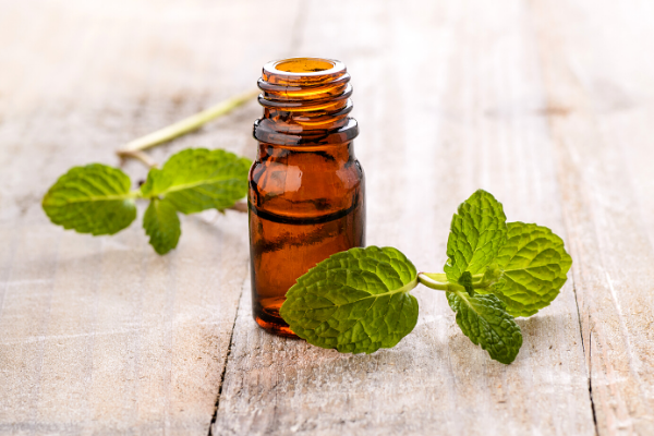 Peppermint leaves next to amber glass bottle with essential oils