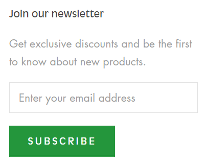 "Screenshot ""Join our newsletter"""