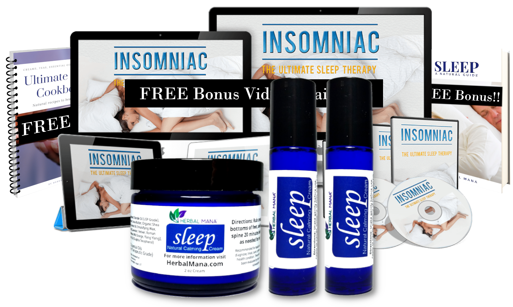 Sleep Therapy Pack with magnesium cream in a blue jar and ebooks